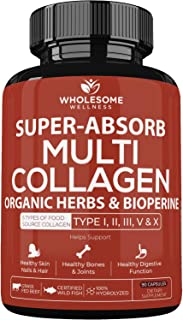 Super-Absorb Multi Collagen Pills (Type I II III V X) Organic Herbs and Bioperine - Anti-Aging, Hair, Skin, Nails, Joints...