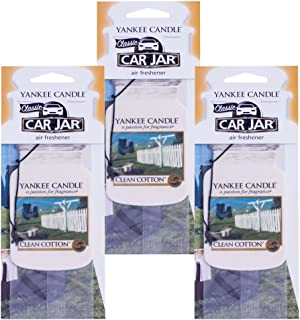 Yankee Candle Car Jar Classic Cardboard Car ,Home and Office Hanging Air Freshener, Clean Cotton Scent (Pack of 3)