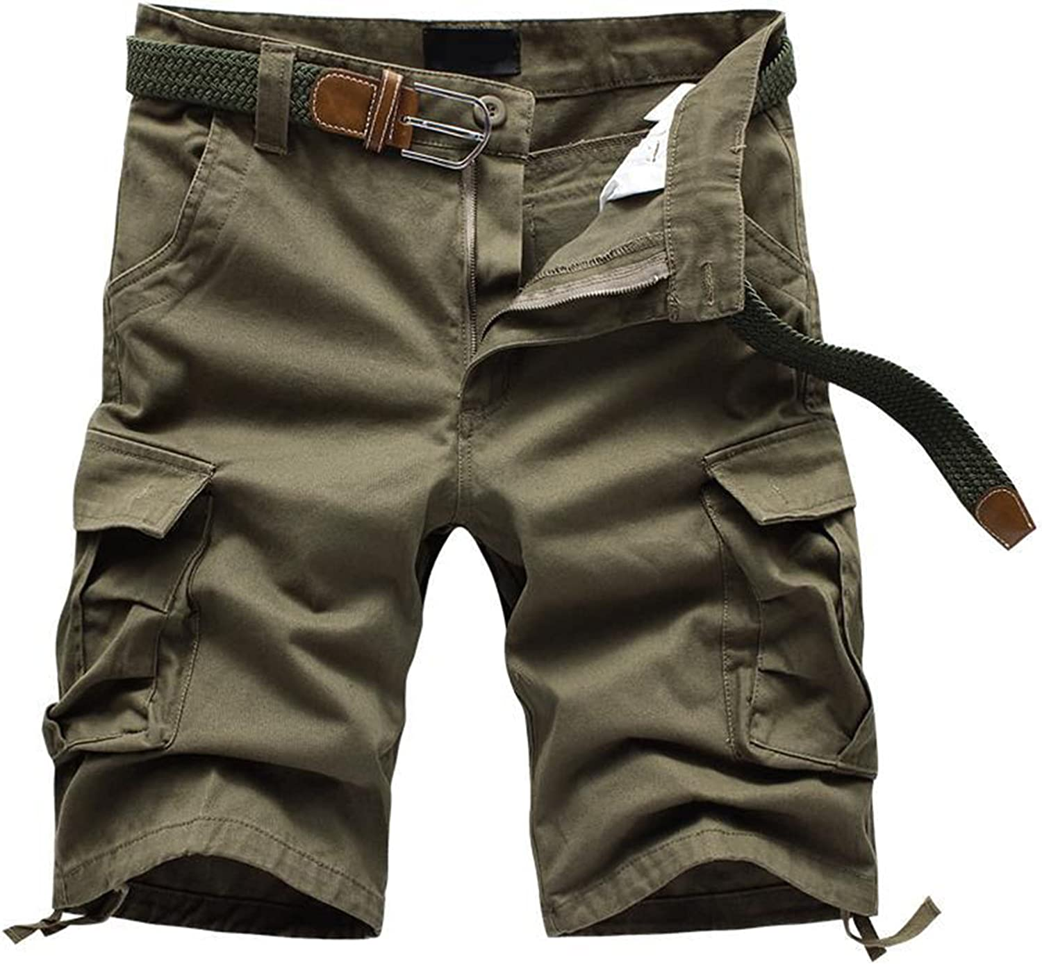 Tootom Plus Size Cargo Shorts for Men,Men's Summer Casual Multi-Pocket Overalls Pants Loose Solid Color Leisure Pants