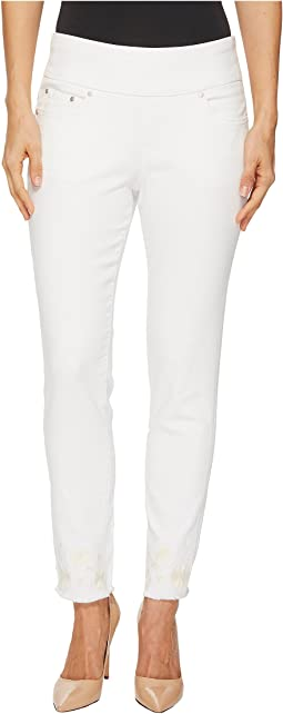Amelia Slim Ankle Pull-On Jeans with Embroidery in White
