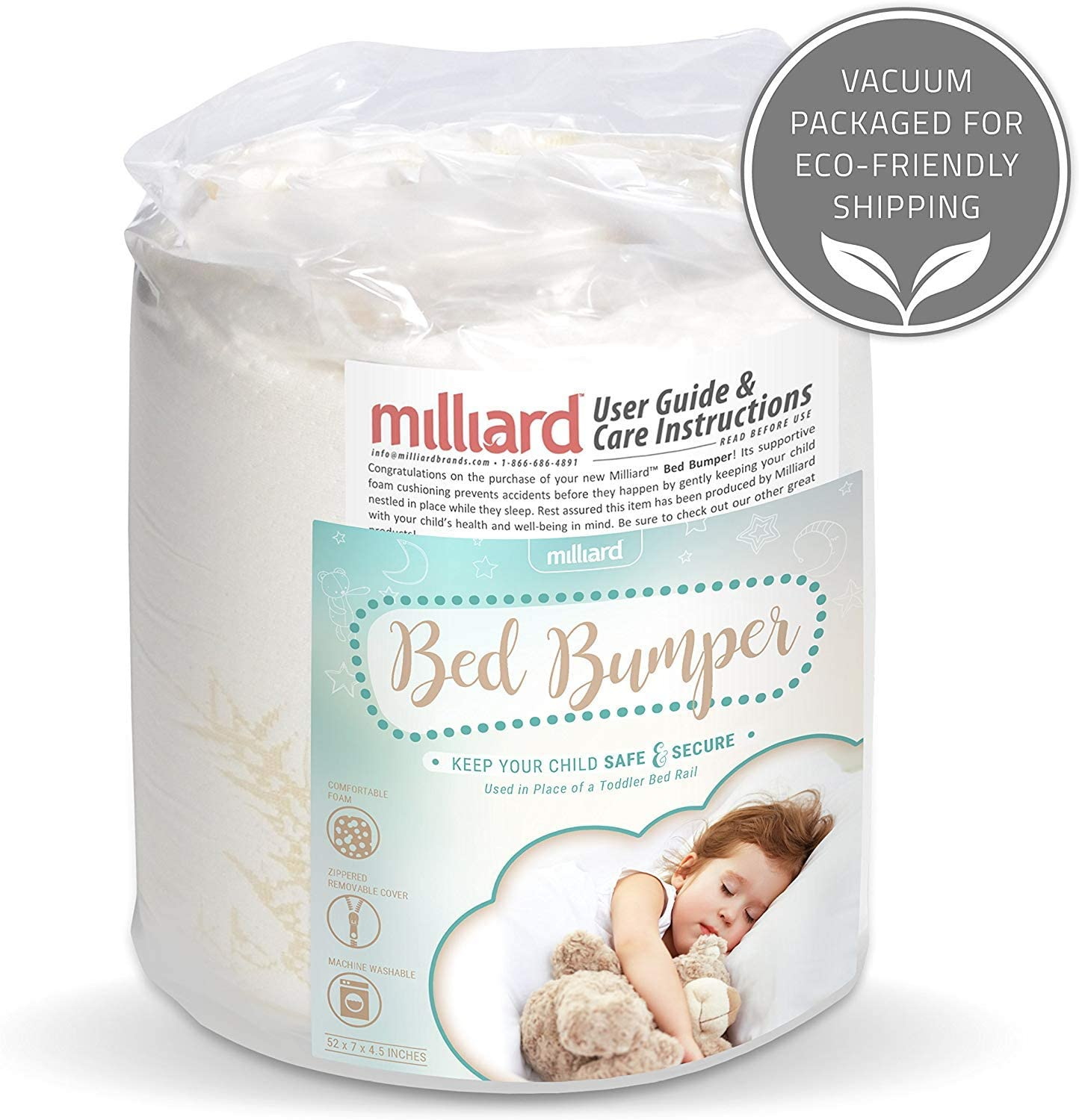 Milliard Bed Bumper (1 Pack) Foam Safety Rail Guard with Non-Slip Hypoallergenic Water Resistant and Washable Cover, Bed Rail for Toddlers, Kids, Adults and Seniors