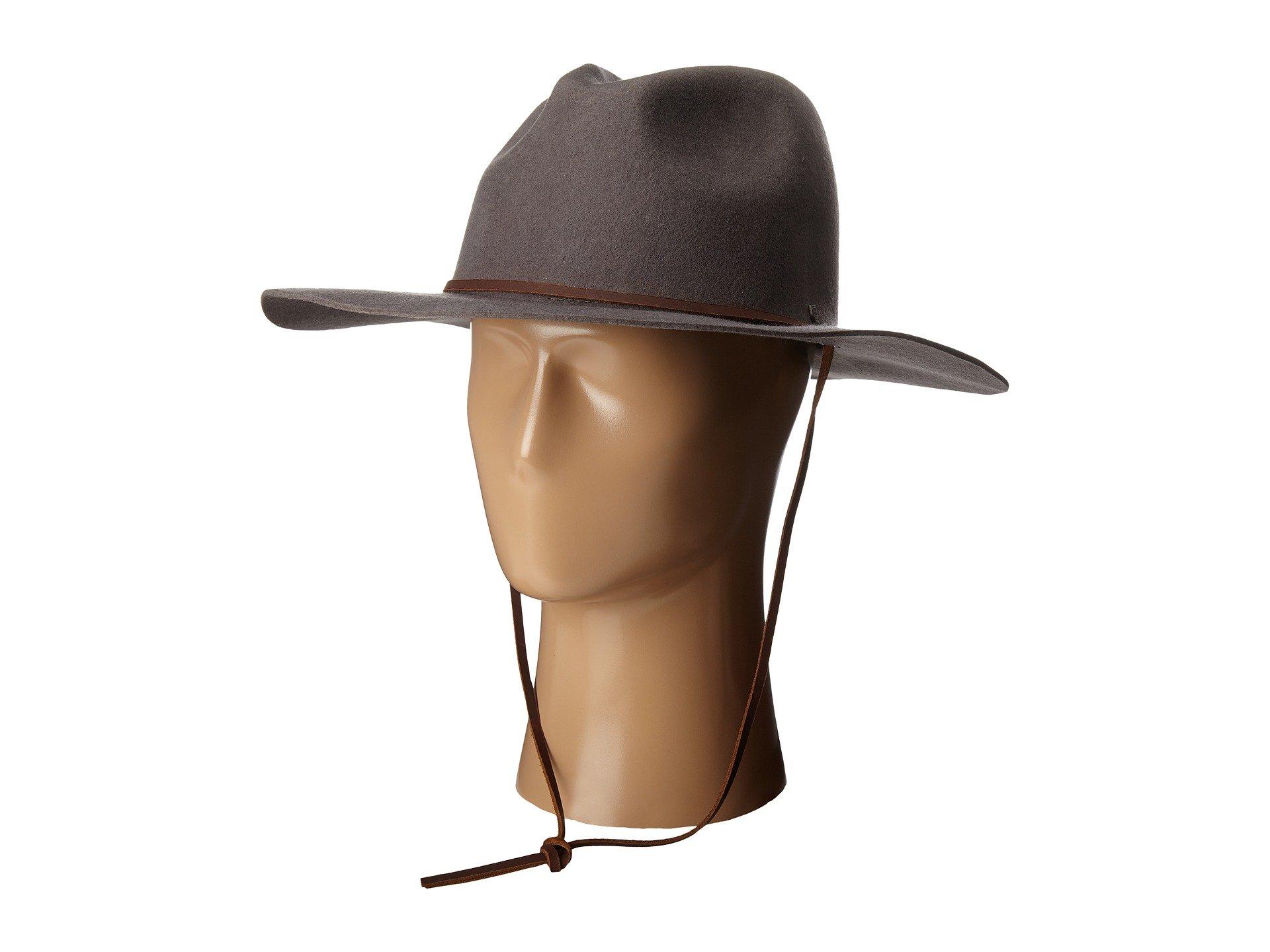 a7d2db7020d Wide brim felt hat. Leather strap. Metal logo shield adorns side. Textile  headband for comfortable wear. Imported. Product measurements were taken  using ...