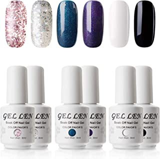 Gellen Gel Nail Polish Set - Classic and Gorgeous Series 6 Colors Black White Shimmering Glitters Mixed, Popular Nail Art Colors Nail Gel Manicure Kit