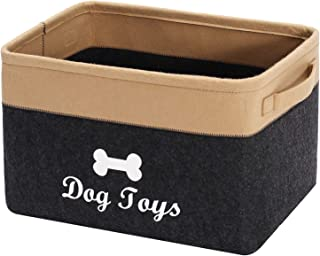 Xbopetda Fiber Soft felt Dog Storage Basket Bin Organizer - Perfect for Organizing Dog Toys Storage, Clothing, Gift Baskets -Dark Grey/Khaki