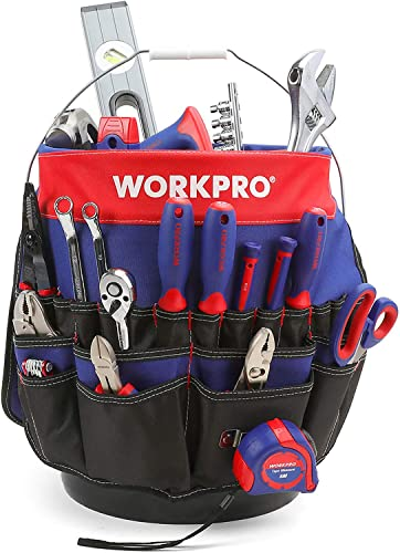 new arrival WORKPRO Bucket Tool wholesale Organizer with 51 Pockets Fits online sale to 3.5-5 Gallon Bucket (Tools Excluded) sale