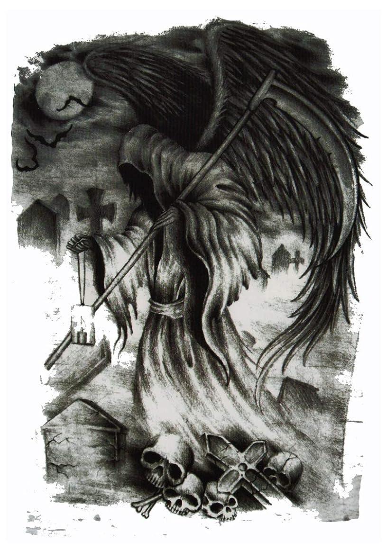 カバー見物人支援する(ファンタジー) THE FANTASY タトゥーシール 死神 髑髏 スカル Grim Reaper-1【中型?A5】