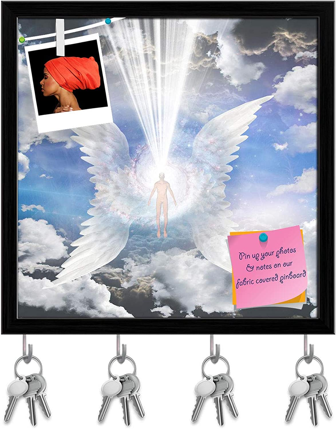 Artzfolio Angel Composed of Galaxy Key Holder Hooks   Notice Pin Board   Black Frame 20 X 20Inch