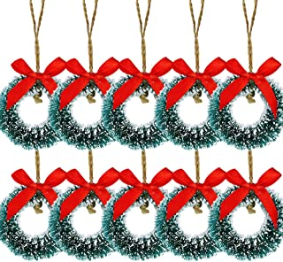 10 Pcs Mini Frosted Sisal Wreaths Artificial Hanging Christmas Wreaths Miniature Wreath Ornaments Bottle Brush Wreath in Green 2.4