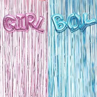 Gender Reveal Decoration Set - Metallic Fringe Curtains + BOY Girl Foil Balloons Gender Reveals Party Photo Backdrop (Pink/Blue)