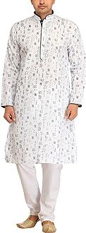 Exotic India Waterfall Casual Kurta Pajama Set with Printed Bootis Green