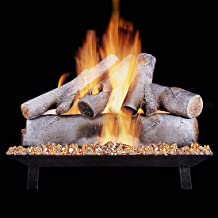 Rasmussen 18-Inch White Birch Gas Log Set with Vented Propane Custom Pan Burner - Variable Flame Remote