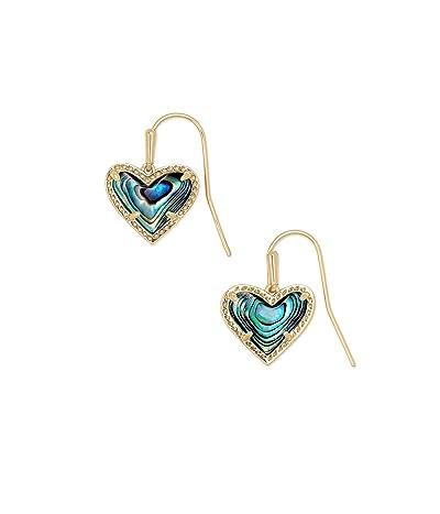 Kendra Scott Ari Heart Drop Earrings (Gold Abalone Shell) Earring