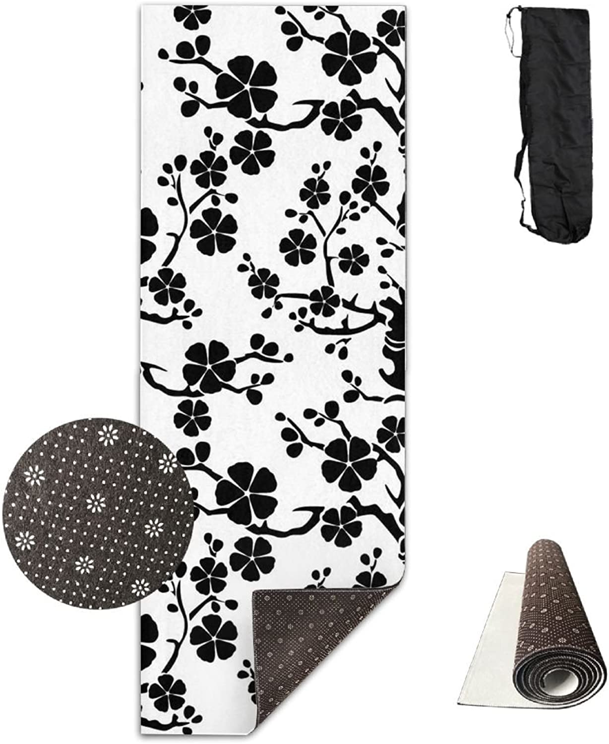 ZSQZSQ Unisex Non Slip Comfort Washable Black Cherry Blossoms Yoga Mat,Pilates & Fitness Exercise Mats with Carrying Strap,Thick High Density Mat,for Yoga,Pilates,Exercise and Workouts