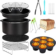 Air Fryer Accessoires 8 Inch 10 Stks voor Gowise Phillips Cozyna Airfryer XL 3.8QT-5.8QT, Extra Gift 4 Stks Barbecue Naald(Black)