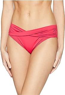 Womens Pearl High-Waist Twist Front Pant Bikini Bottoms Cerise Size Small