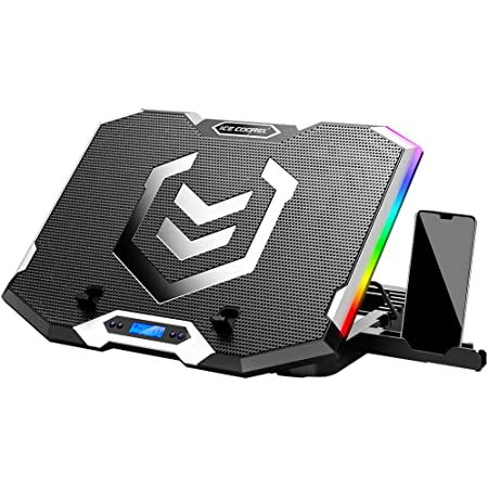 ICE COOREL RGB Laptop Cooling Pad 15.6-17.3 Inch, Gaming Laptop Cooler Stand with 6 Quiet Cooling Fans and 6 Height Adjustable, LCD Screen and RGB Lights, Two USB Ports, One Phone Stand