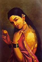 DollsofIndia Lady with an Apple - 18.5 x 12.5 inches - Raja Ravi Varma Reprint on Paper - Unframed (AE08)