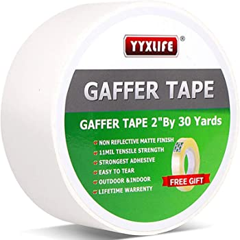 Premium Grade Gaffers Tape, 2 Inch X 30 Yards, White Heavy Duty Non-Reflective Matte No Residue Gaff Main Stage Tape,Electrical Tape,Duct Tape for Photographers,Waterproof Gaffer Tape