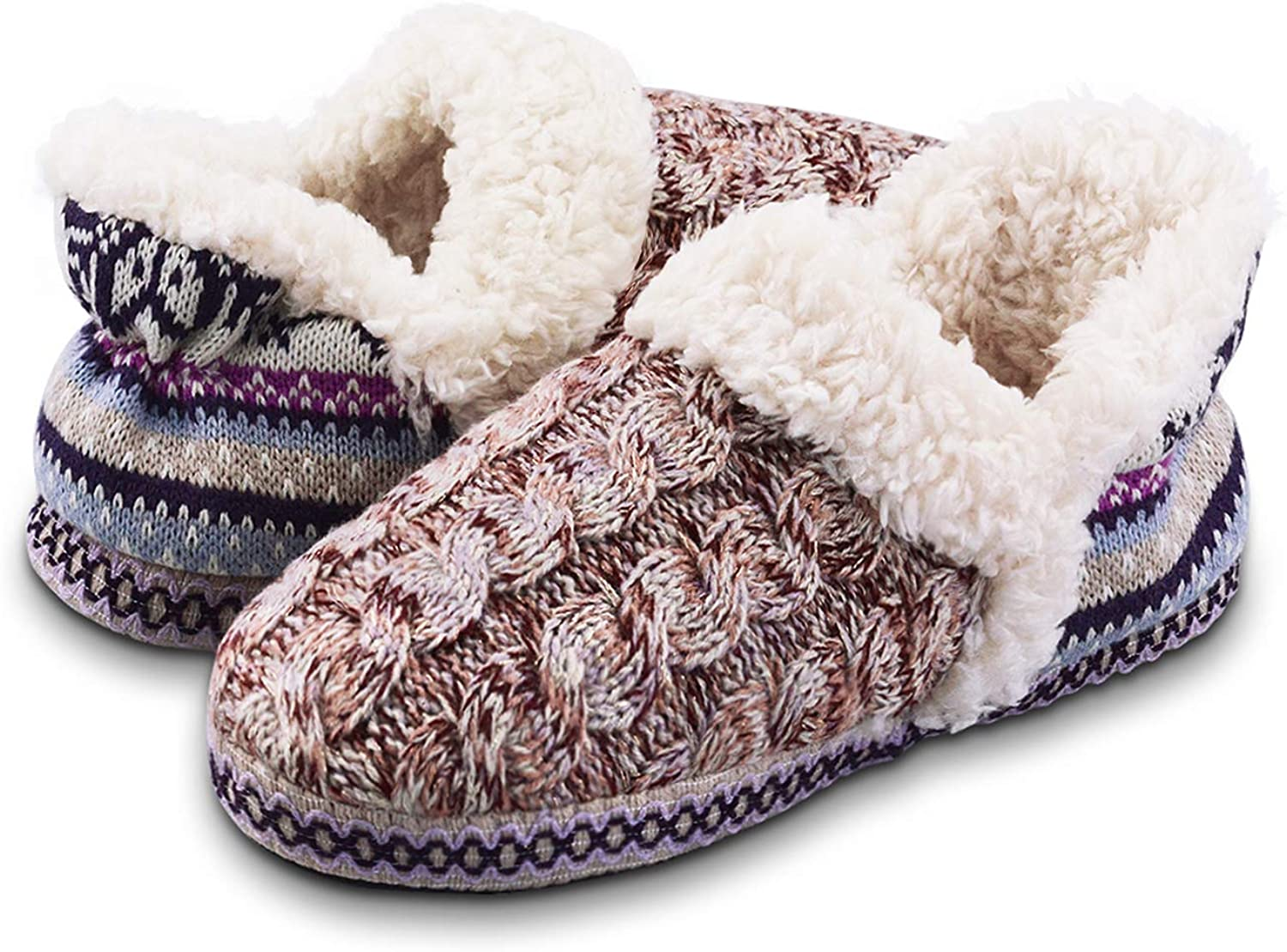 Vonair Cozy Women Knit Slippers with Faux Fur Lining Soft Ankle Slippers Boots Indoor Outdoor House Shoes