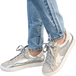 Kathemoi Womens Fashion Sneakers Lace Up Low Top Round Toe Star Casual Walking Flat Shoes
