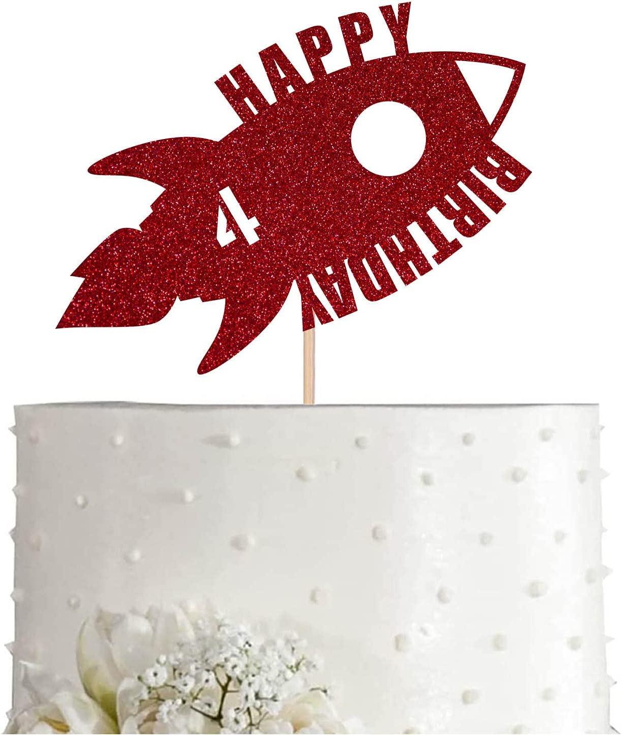 Red Rocket Max 65% OFF 4th Birthday Cake Topper Space 4 Ye New Shipping Free Boy Glitter Girl
