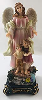 JWG Industries Guardian Angel with Children Statue Polyresin Figurine 8 Inches Tall