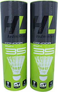 HL Condor SYN 35 Badminton Shuttlecocks (Plastic/Nylon Birdies) with Advanced Technology for Superior Rotation and Flight Characteristics (Medium Sea Level Speed), Trusted by USA Badminton, 12-Pack