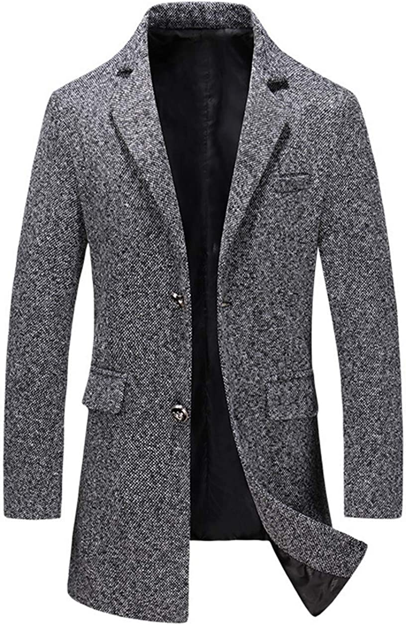 chouyatou Men's Thick Notch Lapel 2 Button Mid-Length Tweed Wool Blazer Coat