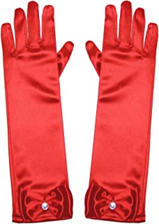 Little Girls Princess Gloves(Solid Color Long Elbow...