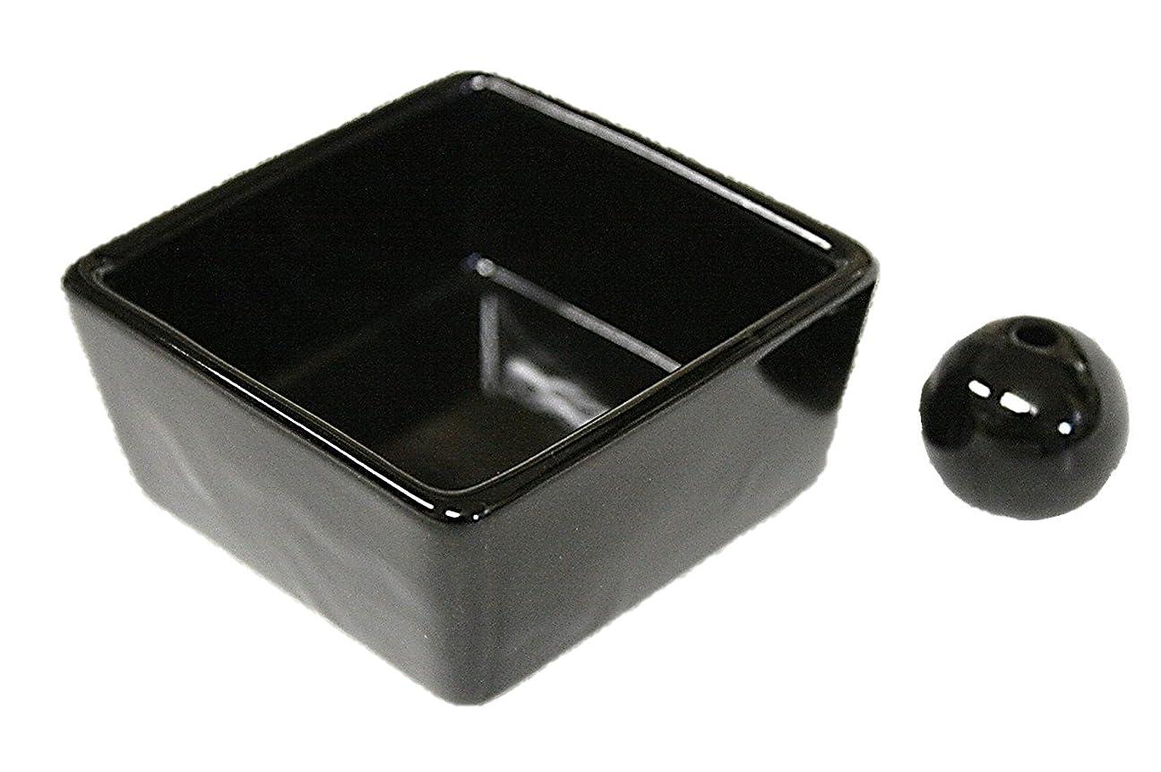 愚かグリル必要和モダン 漆黒 お香立て 陶器 角鉢 製造直売品