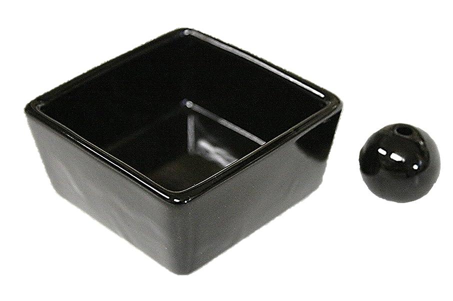 オークエンゲージメントネコ和モダン 漆黒 お香立て 陶器 角鉢 製造直売品