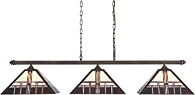 "Pleske Bronze Large Linear Island Pendant Chandelier 56"" Wide Mission Tiffany Style Alfred Geometric Art Glass 3-Light Fixture for Kitchen Island Dining Room - Robert Louis Tiffany"