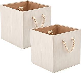 EZOWare Boîte de Rangement Pliable en Tissu de Coton en Bambou avec Poignées, Panier de Rangement, Caisse de Rangement pou...