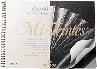"'Canson""Block Mi Teintes 16 Pages Per Pad Spiral on Short Edge 32 x 41 cm Black"