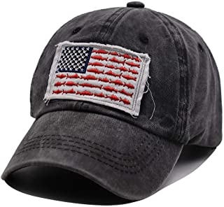 OASCUVER American Fish Flag Hat, Distressed Cotton Adjustable Embroidery Baseball Cap for Men Women Black