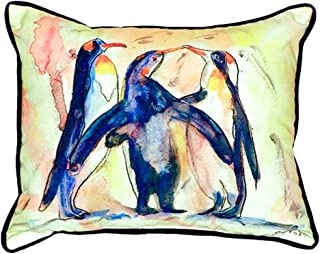 "Betsy Drake SN097 Penguins Small Indoor/Outdoor Pillow, 11"" x14"""