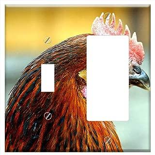 1-Toggle 1-Rocker/GFCI Combination Wall Plate Cover - Chicken Comb Free Running Bird Bill Livestock