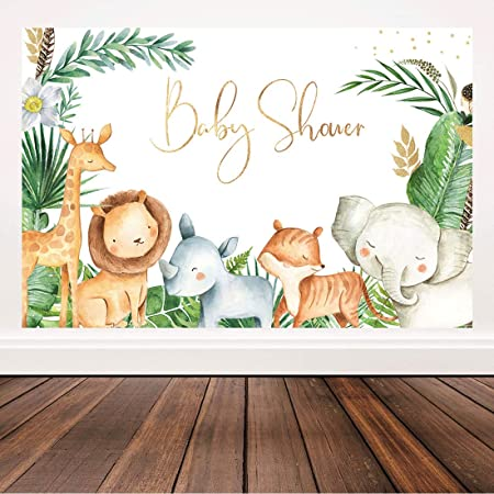 COMOPHOTO 10x7ft African Princess Baby Shower Backdrop Jungle Safari Animals Lion Tiger Elephant Wild Baby Girl Baby Shower Decoration Photography Background Supplies Cake Table Banner