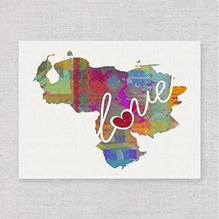 Venezuela Love - An Unframed Watercolor-Style Wall Art Print on Fine Art Paper