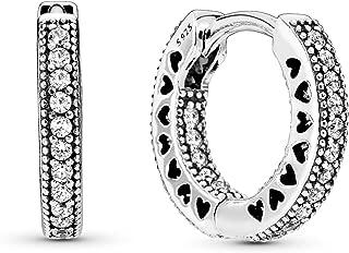 Pandora Jewelry Pave Heart Hoop Cubic Zirconia Earrings in Sterling Silver (2.5mm)