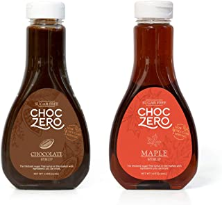 ChocZero's Chocolate and Maple Syrup. Sugar Free, Low Net Carb, No Preservatives. Gluten Free. No Sugar Alcohols. Dessert and breakfast toppings for keto. (2 bottles)
