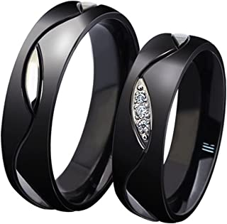 Stainless Steel Rings for Men for Women Unisex Black Plated Wave Cut