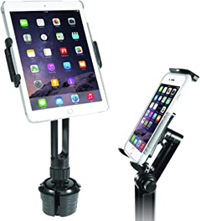 Macally 2-in-1 Heavy-Duty Car Cup Holder Mount - Works with Tablets and Phones - Apple Ipad Pro 10.5 9.7 Air Mini, Samsung Galaxy Tab, iPhone Xs Max XR X Any Mobile Device Up to 8 Wide (MCUPPRO)