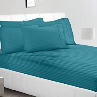 Jennifer Stewart Double Brushed Microfiber 1800 Collection Striped Bed Sheet Set, Queen, Teal