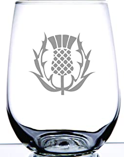 Scottish Thistle Stemless Wine Glass   National Symbol of Scotland and Celtic Regions   Perfect for Scot Friends and Family