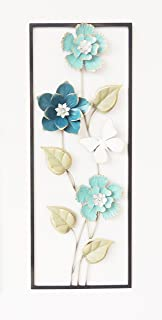 All American Collection Modern Chic Aluminum/Metal Wall Decor with Frame | Light Blue Flowers
