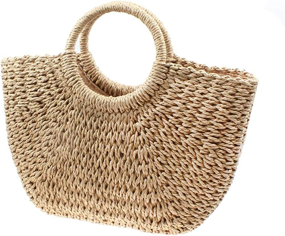 Straw Bag For Women Hand-Woven Round Rattan Summer Beach Bag Large Straw Handbags