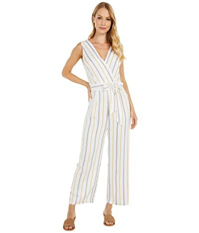 BB Dakota Know Your Stripe Printed Rayon Jumpsuit (Ivory) Women