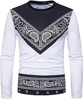 PASATO New Men's Autumn African Print Long Sleeved Round Collar Sweatshirts Top Blouse