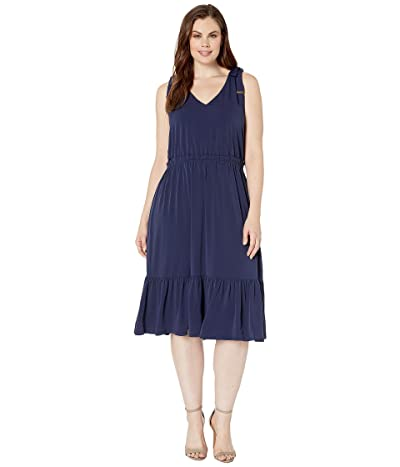 MICHAEL Michael Kors Plus Size Tie Shoulder Midi Dress (True Navy) Women